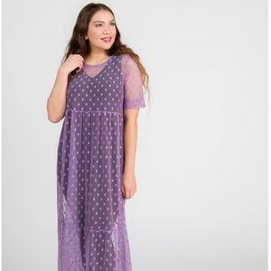 Long Mesh Easy Dress-Purple Dot Mesh